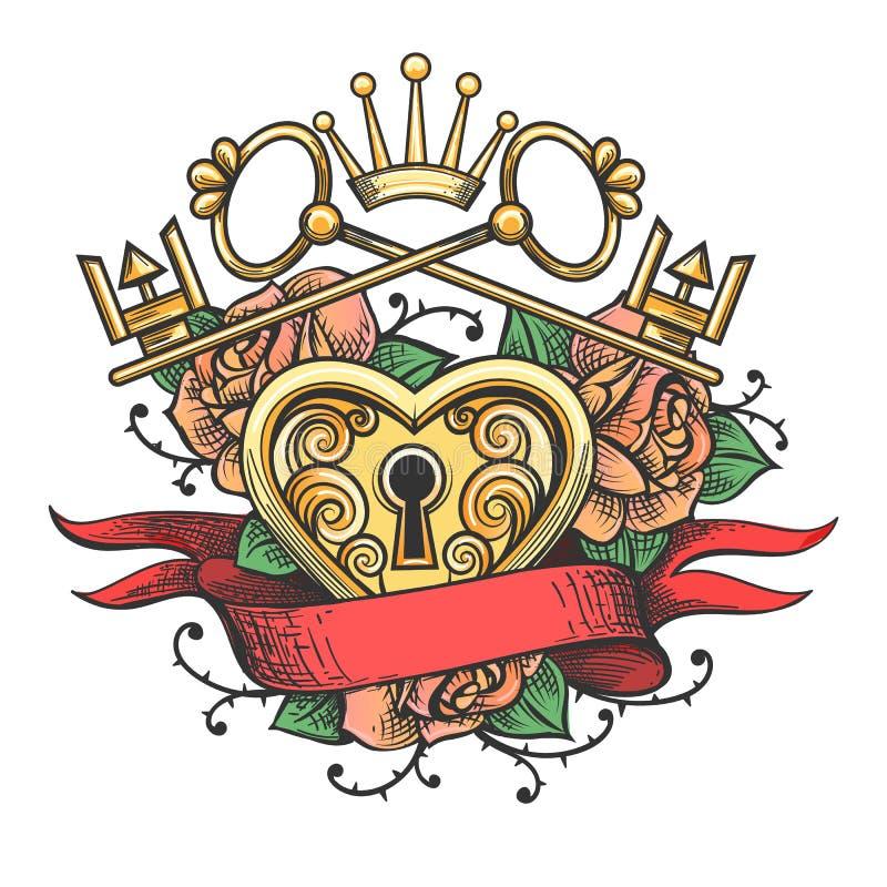 Замок формы сердца с ключами иллюстрация вектора
