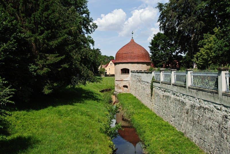 Замок Хермсдорф Замок на озере недалеко от Дрездена, Германия, Европа стоковые изображения