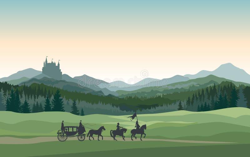 Замок, экипаж, рыцарь r Сельская предпосылка бесплатная иллюстрация