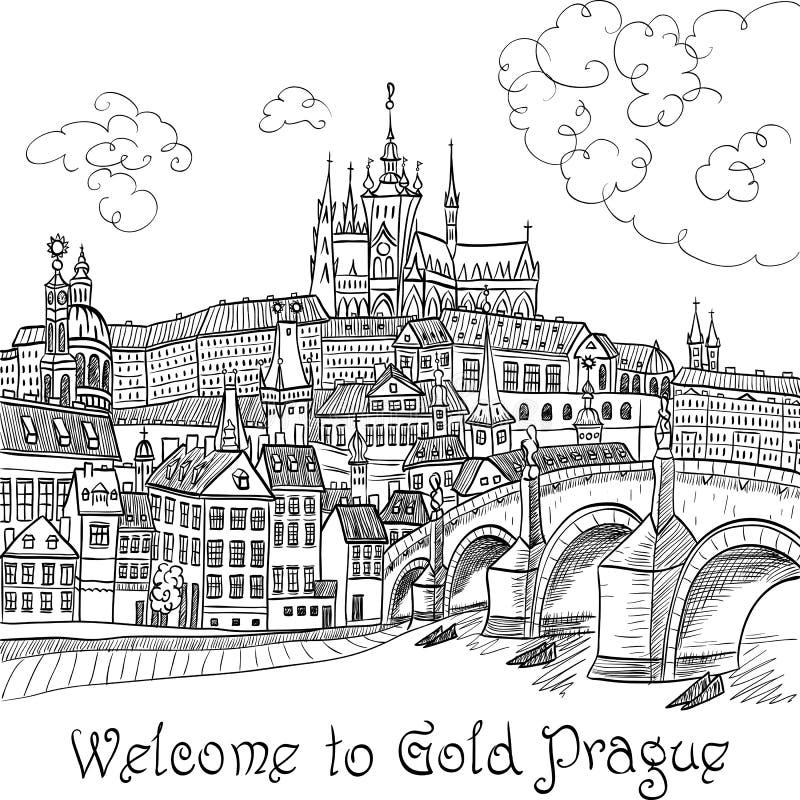 замок charles prague моста иллюстрация вектора