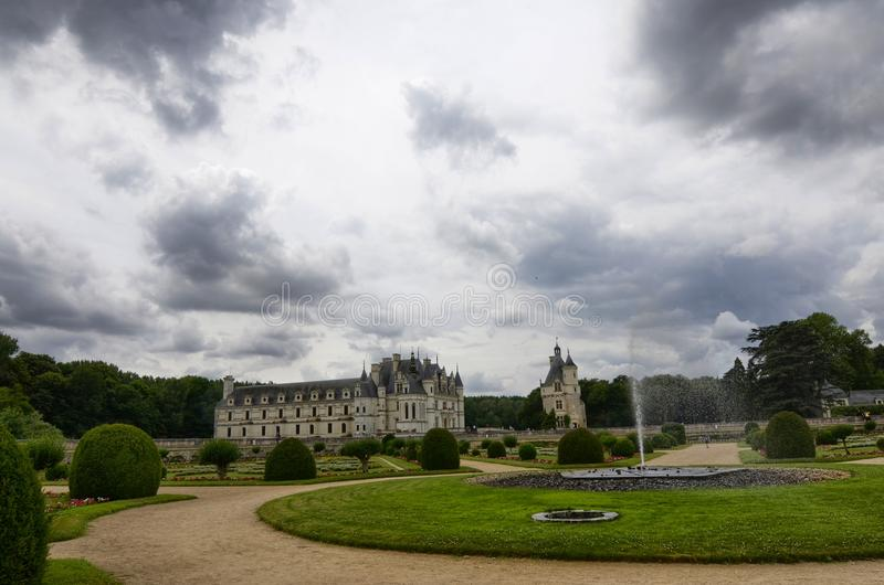 Замок Chenonceau, области Луары, Франции Снимок 27-ое июня 2017 стоковая фотография