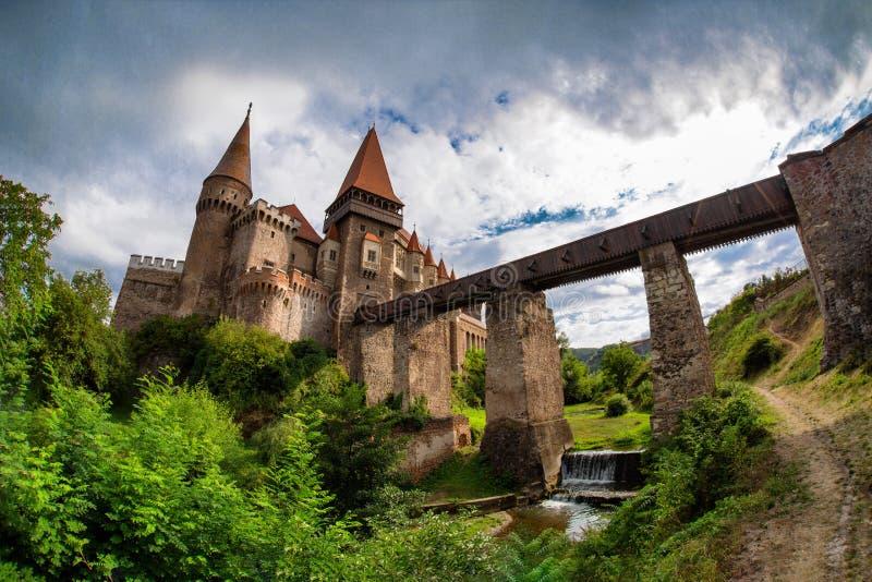 Замок Corvin Huniazilor от Hunedoara, Румынии стоковые изображения rf