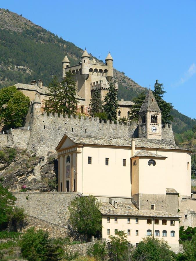 Замок de Святой-Pierre, Aosta (Италия) стоковое фото rf