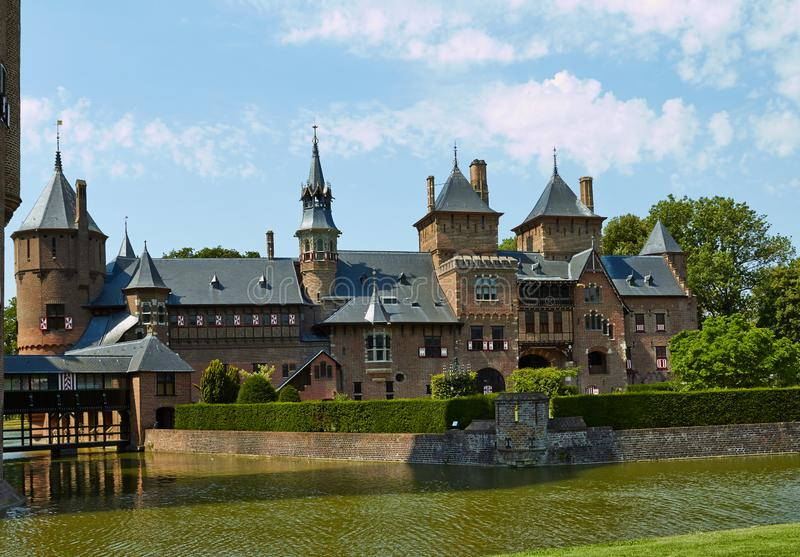 Замок De Haar расположен, в провинции Utrecht стоковая фотография