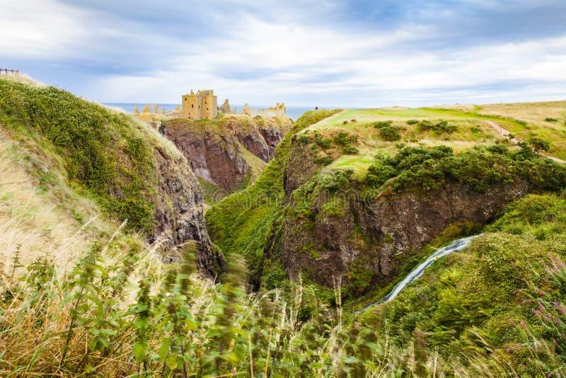 Замок Dunnottar и ландшафт ударов на ki Шотландии захода солнца объединенном стоковое изображение