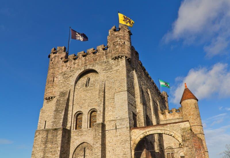 Замок Gravensteen (около 1180) Бельгия ghent стоковая фотография