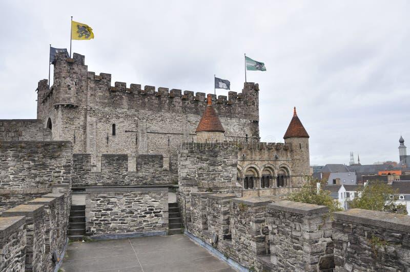 Замок Gravesteen в Генте, Бельгии стоковое фото rf