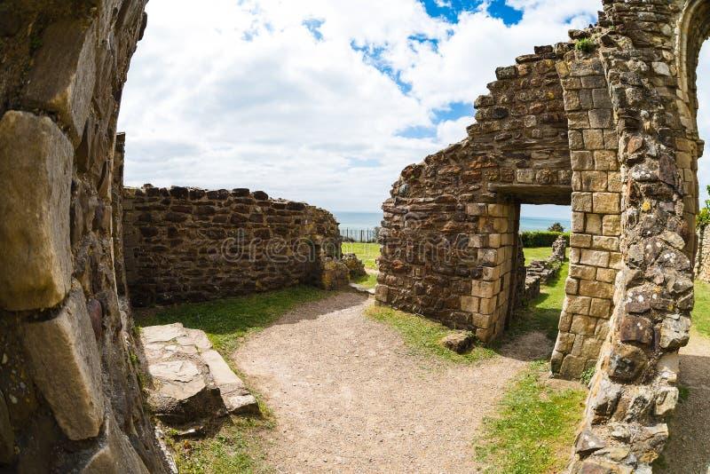 Замок Hastings от fisheye стоковые фотографии rf