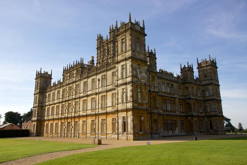 Замок Highclere, Англия, снимая положение для аббатства Downton стоковое изображение rf