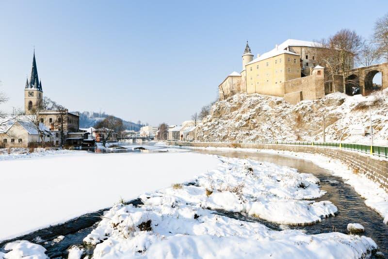 Замок Ledec nad Sazavou в зиме, чехии стоковые фотографии rf