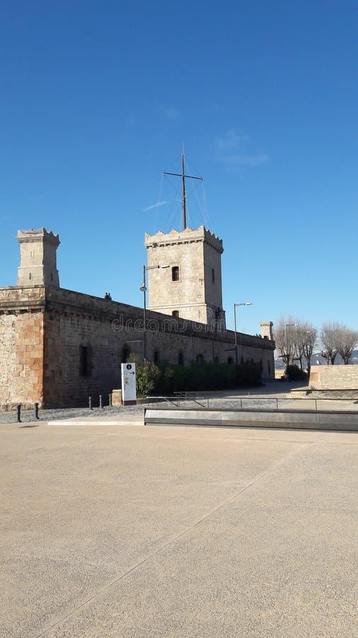 замок montjuic стоковое изображение rf