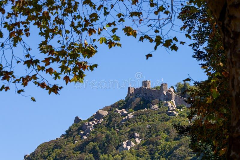 Замок Moors замок вершины холма средневековый в Sintra, Португалии стоковое фото rf