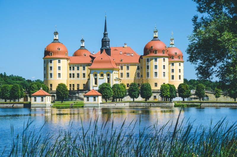 Замок Moritzburg в Саксонии около Дрездена Отражение пруда с некоторыми тростниками в переднем плане Весеннее время Германия стоковая фотография rf