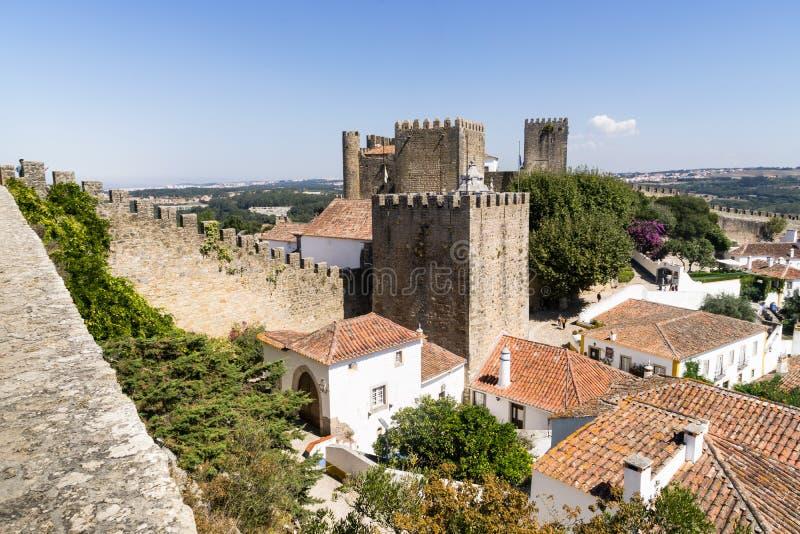 Замок Obidos средневековый, Португалия стоковое фото rf