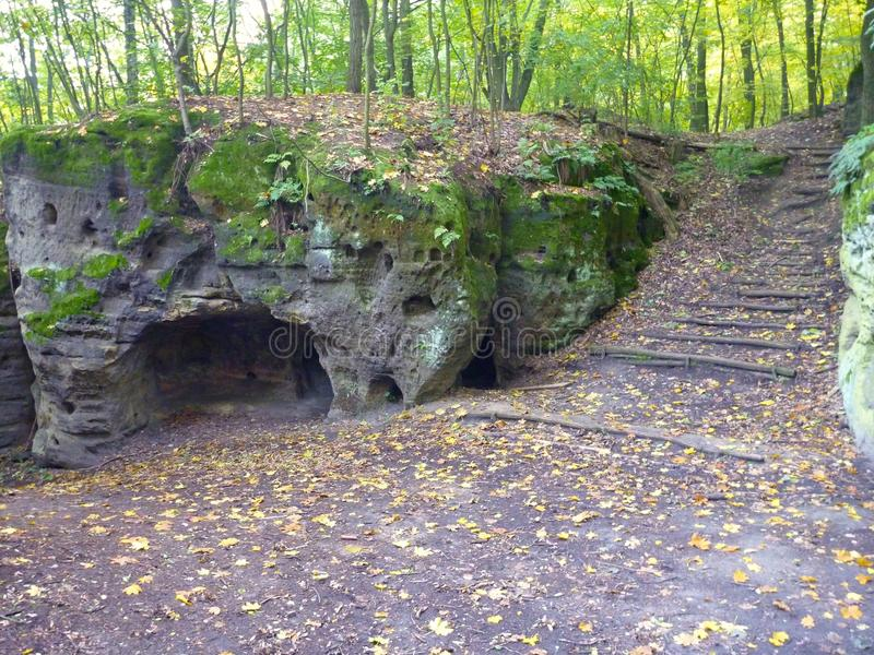 Замок ov ½ ¿ Valeï и своя каменная деревня в богемском рае стоковое фото