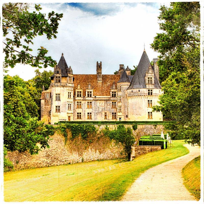 Замок Puyguilhem Франция стоковые фотографии rf