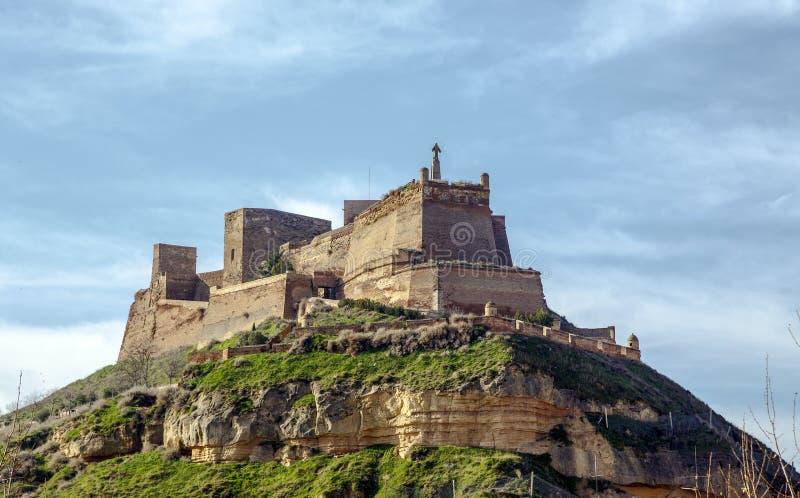 Замок Templar Monzon арабского десятого века Уэски Испании начала стоковое фото