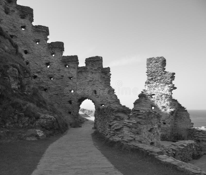 Замок Tintagel, Корнуолл, Англия стоковое изображение rf