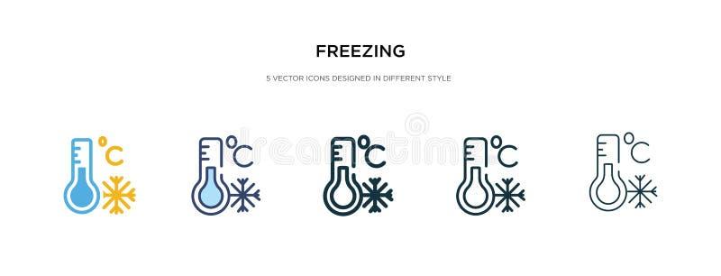 Замораживание значка на рисунке вектора другого стиля два цветных и черных векторных иконки замораживания, спроектированные в зал иллюстрация вектора