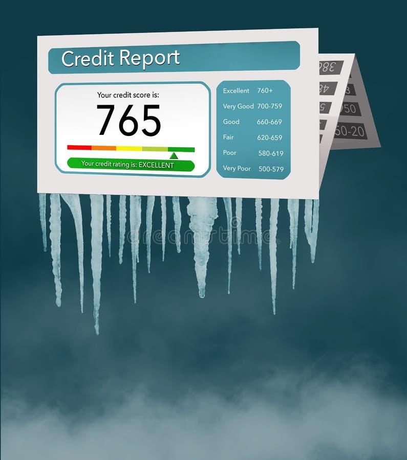 Замораживание кредита, или замораживание на вашей справке о кредитоспособности представлены с сосульками и снегом на насмешливой  иллюстрация вектора