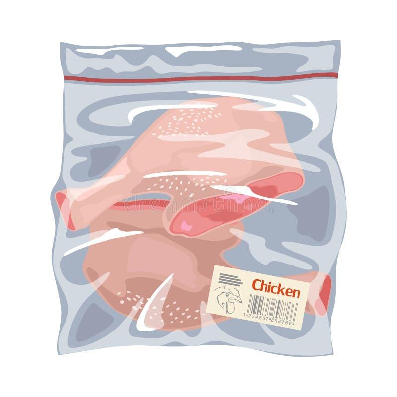 Замораживание мяса птицы в одноразовой пластиковой упаковке Квятеры для курятины ног или палочки для барабанов бесплатная иллюстрация