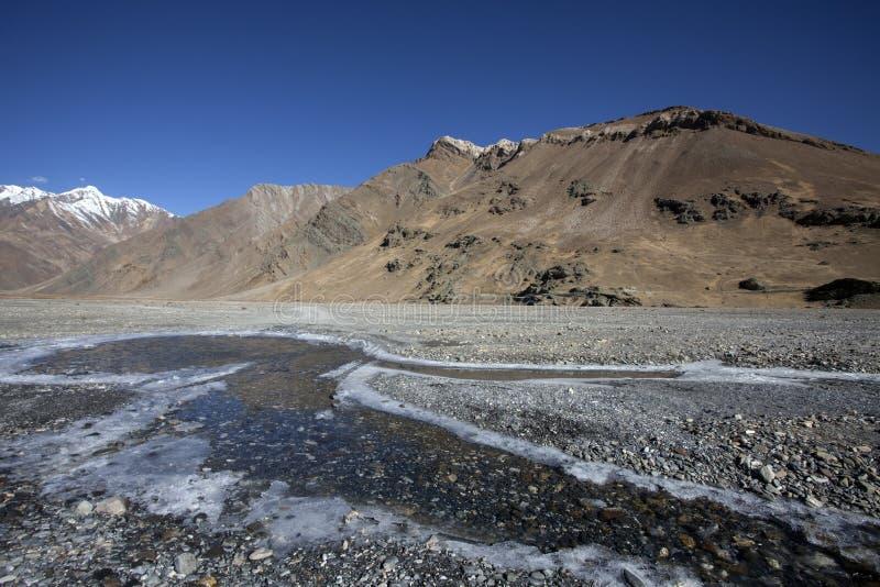 Замороженная вода в большой возвышенности долины Zanskar, Ladakh, Индии стоковые изображения