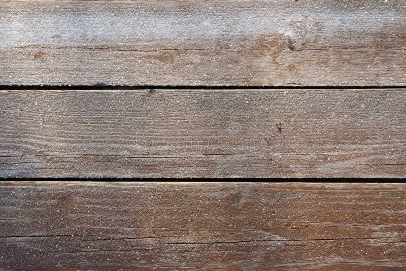 Замороженная деревянная предпосылка доск Это реальное foto в солнечном морозном дне стоковое изображение