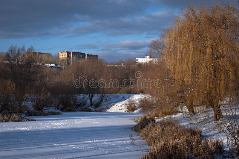 замороженная зима озера стоковые изображения rf