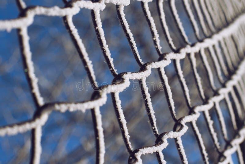 Замороженная металлическая картина загородки стоковое фото rf
