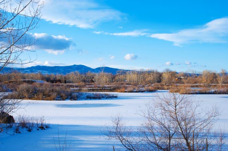 замороженная прерия озера стоковое фото