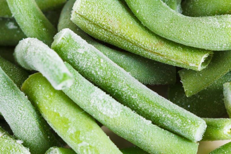 Замороженная предпосылка зеленых фасолей Съемка студии конца-вверх стоковые фотографии rf