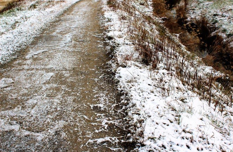 Замороженная сельская дорога в Японии стоковая фотография