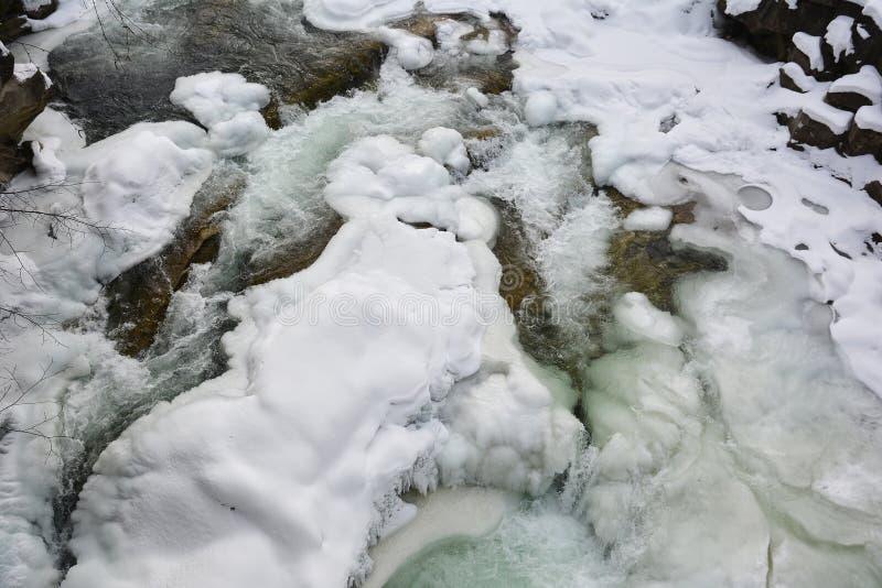 Замороженное быстрое река горы в зиме Плавить весны льда, spr стоковые изображения rf