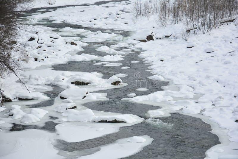 Замороженное быстрое река горы в зиме Плавить весны льда, spr стоковая фотография rf