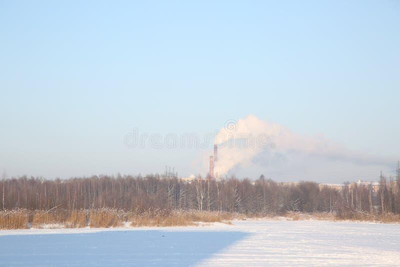 Замороженное озеро, покрытые снег тростники и дымя промышленная печная труба стоковые изображения rf