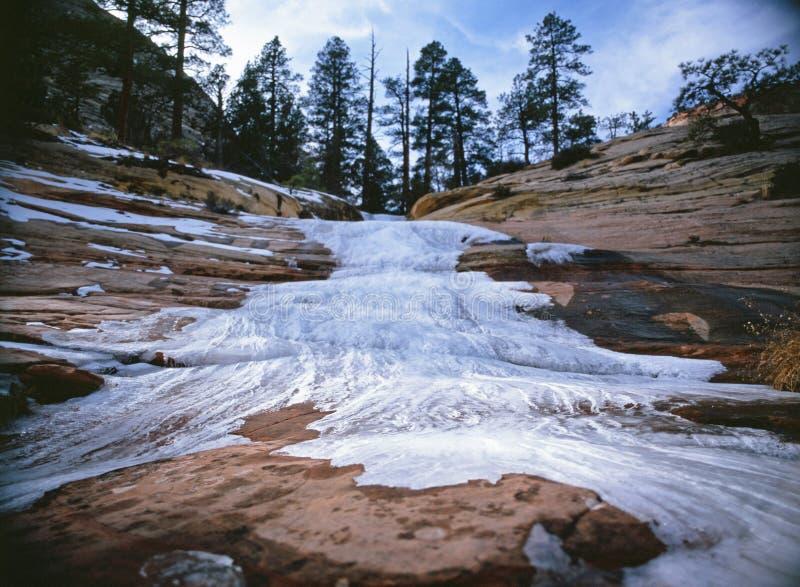 Замороженное река в парке Сиона стоковые изображения rf