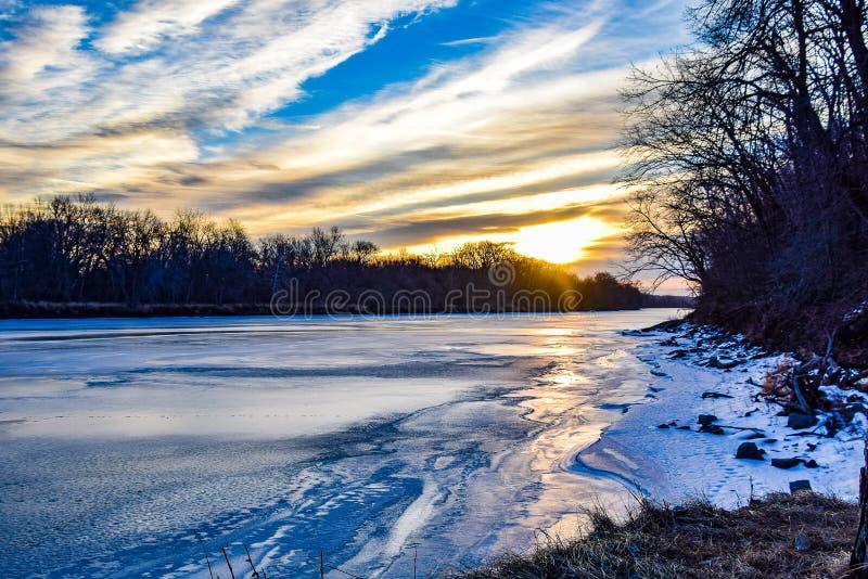 Замороженное река Des Moines стоковое фото rf