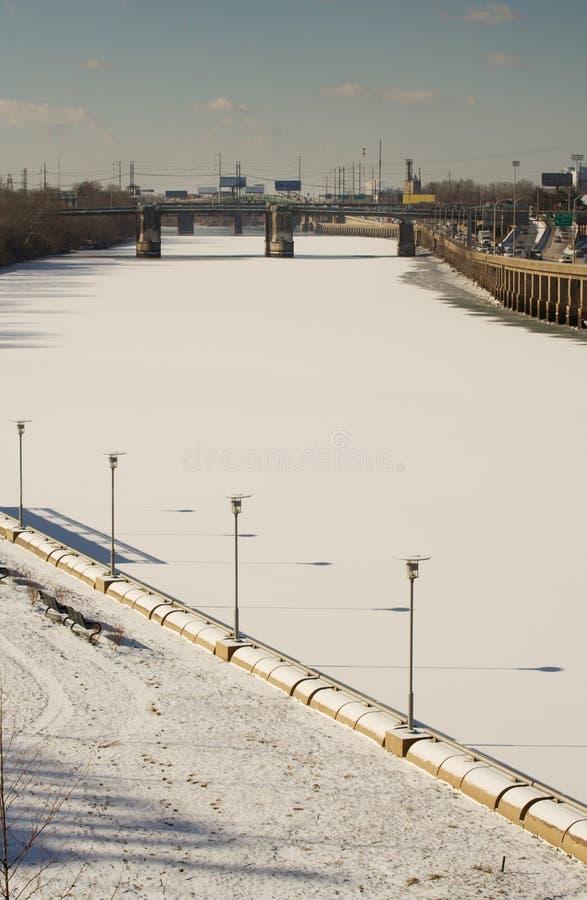 замороженное schuylkill реки стоковые фотографии rf
