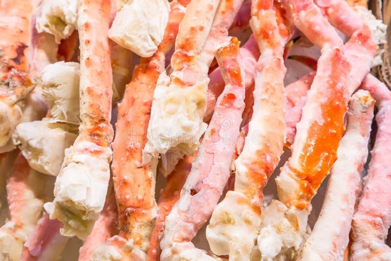 Замороженные ноги камчатского краба в рынке места Pike стоковая фотография