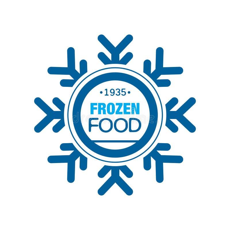 Замороженные продукты с 1935, абстрактный ярлык для замерзать с иллюстрацией вектора снежинки иллюстрация вектора