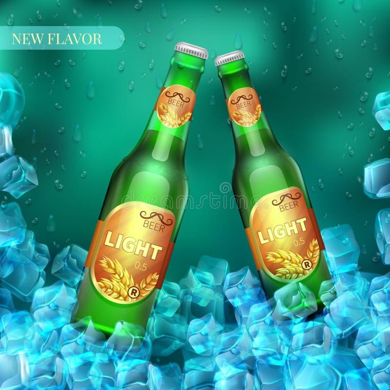 Замороженные светлые пивные бутылки с кубами льда Предпосылка розницы вектора продукта иллюстрация вектора