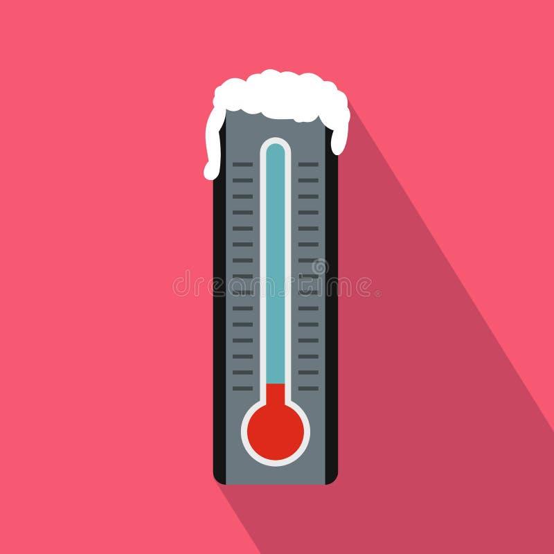 Замороженный значок термометра в плоском стиле иллюстрация штока