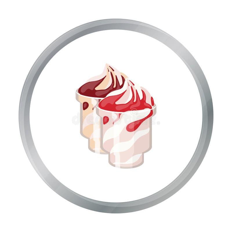 Замороженный йогурт с сиропом в значке чашек в стиле шаржа изолированном на белой предпосылке Молочный продукт и сладостный запас иллюстрация штока