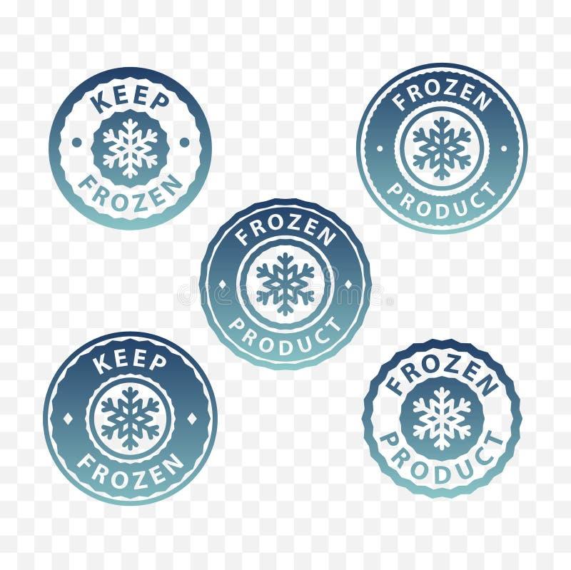 Замороженный комплект значка продукта Стикеры замороженных продуктов упаковывая бесплатная иллюстрация