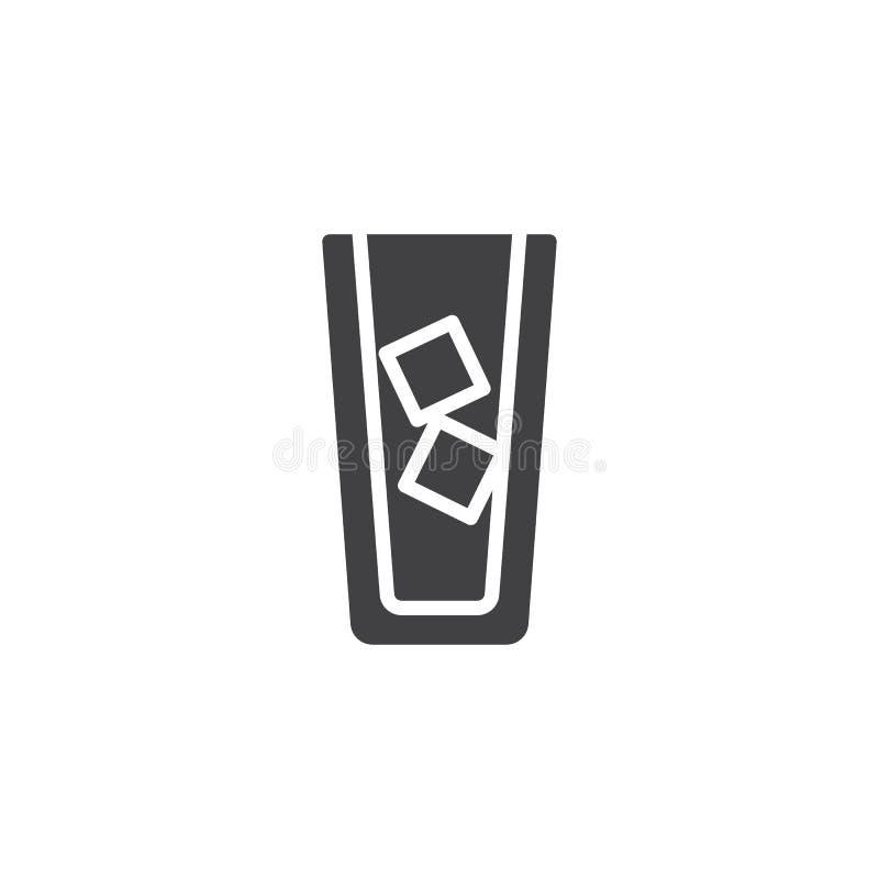 Замороженный кофе с вектором значка кубов и кофе льда иллюстрация вектора