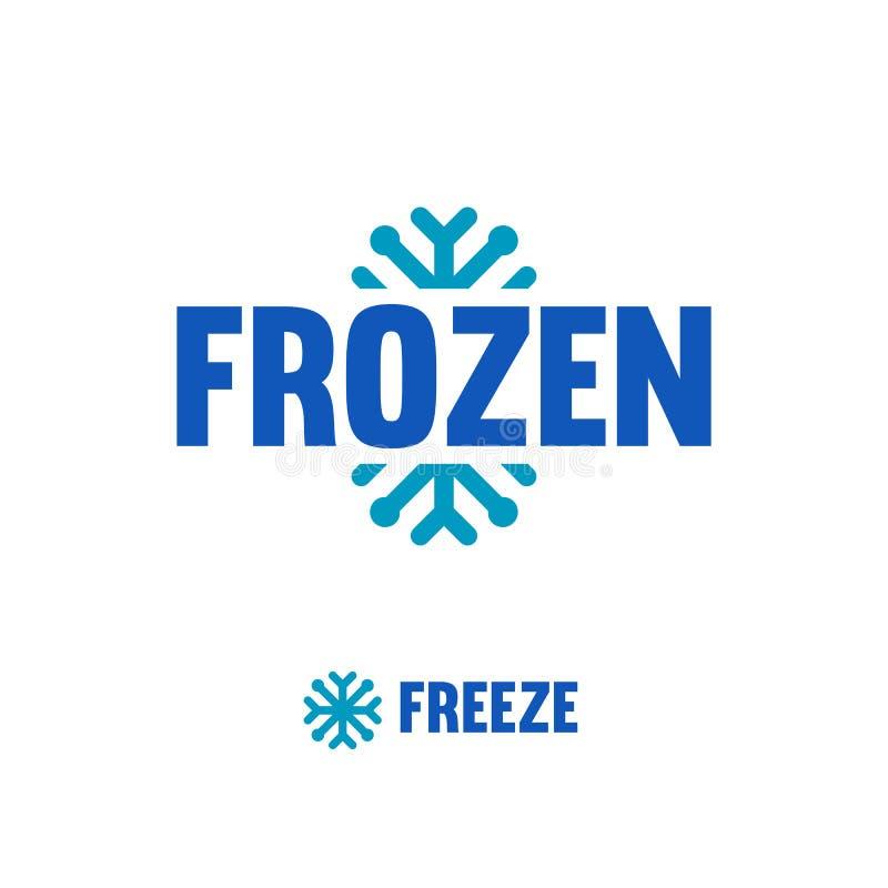 Замороженный, логотип замораживания Абстрактный логотип снежинки вектора иллюстрация вектора