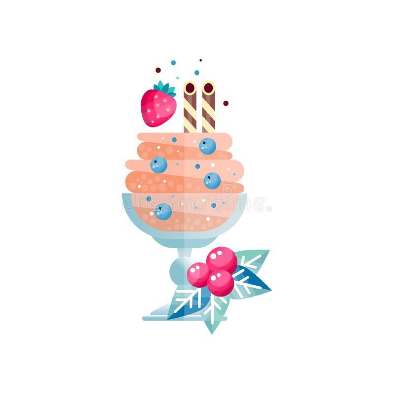 Замороженный мульти-наслоенный десерт с тросточками конфеты, сладостной клубникой и голубикой Мороженое в стеклянном сосуде Пук з иллюстрация вектора
