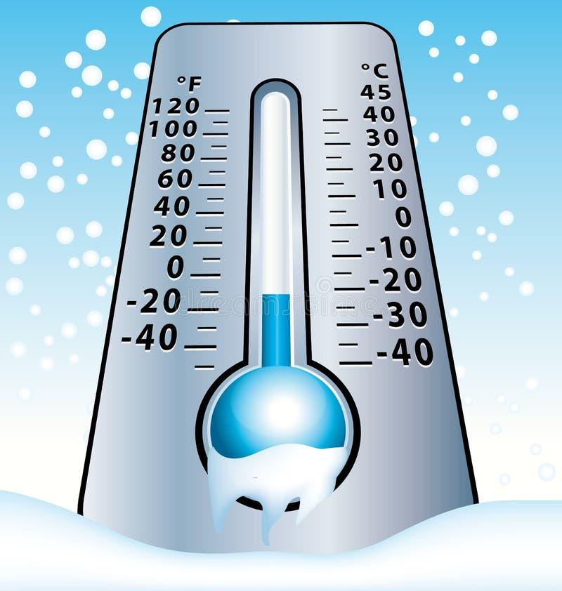 замороженный термометр Холодная иллюстрация зимы с падая снежинками иллюстрация вектора