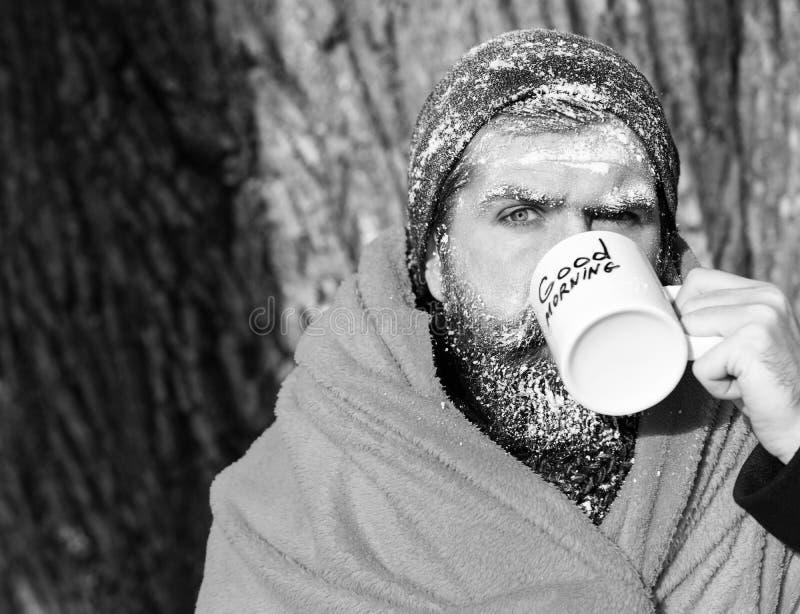 Замороженный человек, бородатый битник, при борода и усик предусматриванные с белым заморозком обернутые в оранжевом одеяле с гре стоковое изображение rf