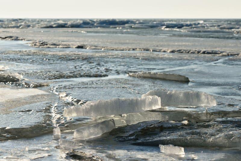 Заморозьте на поверхности лагуны Curonian стоковые изображения